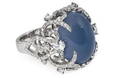 One Kings Lane - Meriwether  Blue Chalcedony and diamond