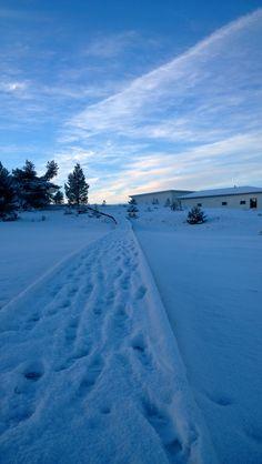 Lots of snow and -20 degrees freeze in Holiday Home Fair worksite, Kalajoki Finland. Luminen maisema ja pitkospuut Kalajoen messualueella tammikuussa 2014.