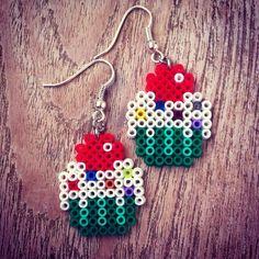 Cupcake earrings hama mini beads by Fulmiartis