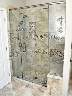 Neutral Tile Shower With Bench in Traditional Bathroom The Most Useful Bathroom Shower Ideas Diy Shower, Custom Shower, Walk In Shower, Shower Doors, Shower With Bench, Shower Ideas, Neutral Bathroom, Small Bathroom, Master Bathroom