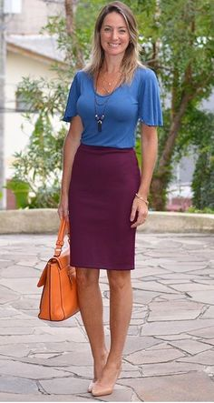 Business Outfits, Business Fashion, Burgundy Skirt, Middle Aged Women, Outfit Look, Work Wardrobe, Marsala, Work Fashion, Formal