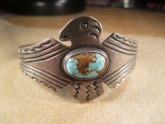 Sterling Silver & Turquoise Thunderbird Cuff Bracelet, Unsigned Harvey Era, 23g