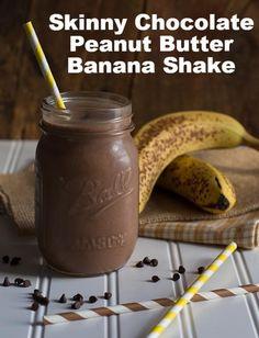 Skinny Chocolate Peanut Butter Banana Shake via @Jennie {The Messy Baker}  // #greekyogurt #banana #smoothie #recipe
