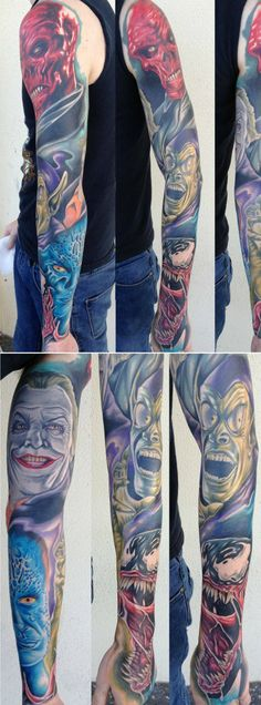This is not an all Marvel tattoo. It has the Joker on it. He's a DC villan, but all in all a great tattoo. Marvel comic villain tattoo.