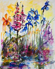 Flowers By The Pond Blue Irises Foxglove Print by Ginette Callaway   #Flowers #Pond #Blue #Water #Irises #Foxglove #Floral #Watercolor #Painting #Impressionist #Impresionism #Art #Artist #GinetteCallaway