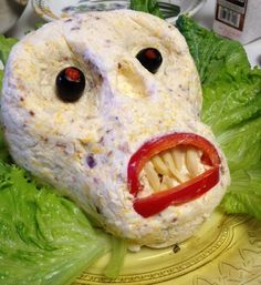 I used red pepper slices for the mouth, slivered almonds for the teeth and black olives for eyes. I think deviled eggs would work well for eyes also. Use your imagination! Creepy Halloween Party, Zombie Party, Halloween Ideas, Halloween Foods, Halloween 2013, Holiday Treats, Holiday Recipes, Holiday Foods, Cheese Ball Recipes