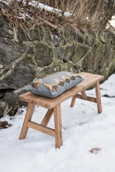 Simple wood bench.