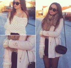 Mart Of China Pink Coat, Diy Knitted Gloves, Bik Bok Knitted Sweater, H&M Bag