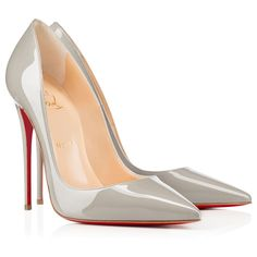 Christian Louboutin So Kate 120mm Patent Leather Pointed Toe Pumps Grey