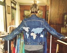 Denim map custom vintage jacket by @ceuhandmade