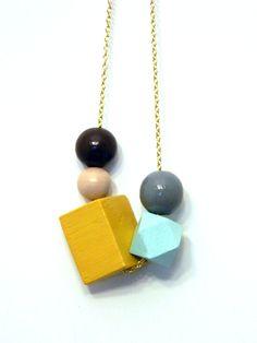 Siryn- Geometric Wooden Bead Necklace. $28.00, via Etsy.