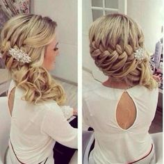 bridesmaid hair curled to the side - Google Search