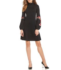 9984a277c6a M.S.S.P. Floral Applique Embroidered Balloon Sleeve Sweater Dress Applique