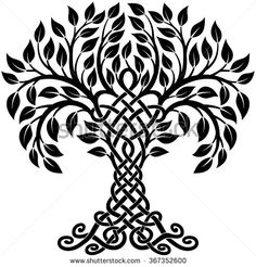 Vector ornament, decorative black and white Celtic tree of life