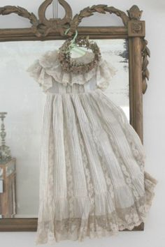 Keepsake of a little girls dress. Little Girl Dresses, Flower Girl Dresses, Vintage Accessoires, Bohemian Bride, Boho, Christening Gowns, Linens And Lace, Heirloom Sewing, Shabby Chic Homes
