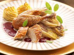 Fazant met witloof, aardpeer en cranberrysaus