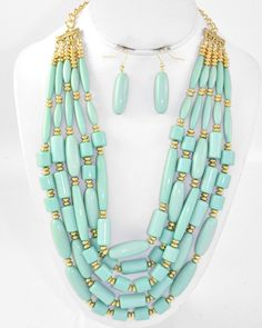 Gold Tone / Mint Acrylic / Lead Compliant / Multi Row / Necklace & Fish Hook Earring Set