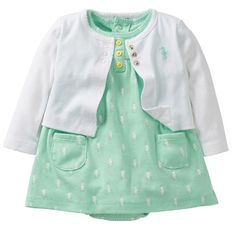 Carters Baby Girls 2piece Bodysuit  Cardigan Dress Set 3 Months Mint Seahorse ** Find out more about the great product at the image link. (This is an affiliate link) #BabyGirlDresses