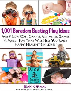 """1,001 Boredom Busting Play Ideas for families and kids. """"A must have resource to beat the boredom blues."""" ONLY #99cents until Dec 21, 2015. Also in paperback for great #giftideas."""