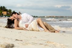 Newlywed couple share an intimate moment at in the Mayan Riviera, Mexico during a trash the dress photo session by Honeymoon Photography, Wedding Photography, Beach Photography, Beach Wedding Photos, Wedding Pictures, Grand Velas Riviera Maya, Couple Beach, Newlyweds, Photo Sessions