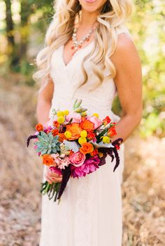 Bright & Beautiful Bouquet - Photography:  kenkienow.com on #SMP. See the wedding here: http://www.StyleMePretty.com/california-weddings/sacramento/2014/03/29/colorful-squirrel-creek-ranch-wedding/