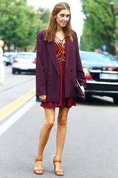 Oversized blazer worn with a chiffon dress