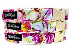 "Items similar to Floral Teal Pink Green Gold Chrome Collar XS, Small, Medium, Large-""Love Story"" on Etsy Dog Collar Boy, Cute Dog Collars, Girl Dog Collars, Dog Collars & Leashes, Leather Dog Collars, Dog Jewelry, Dog Items, Diy Stuffed Animals, Dog Accessories"
