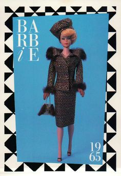 """Barbie Collectible Fashion Trading Card """" Saturday Matinee """" with Purse 1965 
