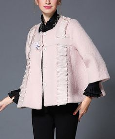 Pink Bell-Sleeve Wool-Blend Crop Cape - Plus Too