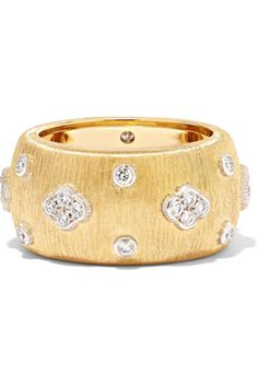 Brilliant-cut F-G VVS-VS diamonds, total weight: This piece has been certified in accordance with the Hallmarking Act 1973 NET-A-PORTER. Gold Diamond Rings, Diamond Cuts, Saint Laurent Shirt, Elegant Watches, Cuff Bracelets, White Gold, Wedding Rings, Earrings, Leather