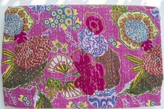 """Pink Quilt - Light Cotton Quilt with Beautiful Floral Print Pattern - Kantha Quilt in Hand Stitched Pattern - Handcrafted and Hand Quilted - Light Cotton Throw Blanket- Coverlet - Boho Chic - 108"""" X 90"""" Amore Beaute http://www.amazon.com/dp/B00IBJRAY6/ref=cm_sw_r_pi_dp_sJ60tb0Q2SBXPSHE"""