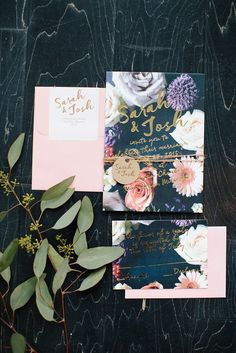 Coming Up Roses: Roses and bold colors always look good, no matter what season we are in. These gorgeously bold wedding invitations are perfect for the bold bride. The gold adds a touch of elegance and glamour which makes it one of our favorites.