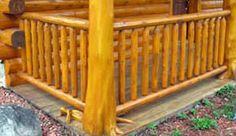 white cedar log railing - love it! rustic looking Log Furniture, Country Furniture, Stair Well, Traditional Porch, Cedar Log, Porch Steps, White Cedar, Log Cabin Homes, Deck Railings