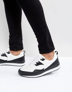 ASOS Sneakers In Black And White Monochrome - White