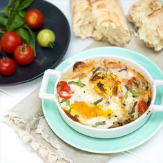 Caprese Style Baked Eggs -- a quick and easy high protein meal.  Enjoy as is or over crunchy toast or grain of choice