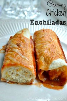 These easy Chicken Enchiladas are the best recipe ever! Stuffed with the creamiest chicken mixture and topped with simple sauce.