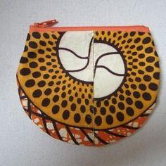 Porte-monnaie tissu wax motif africain jaune et orange (envoi 0€)