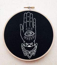 All Seeing Eye Hand Tattoo Flash Hand by cardinalandfitz on Etsy