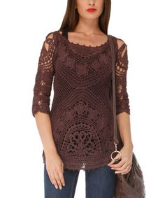 Another great find on #zulily! Chocolate Sheer Crocheted Boatneck Top by Almatrichi #zulilyfinds