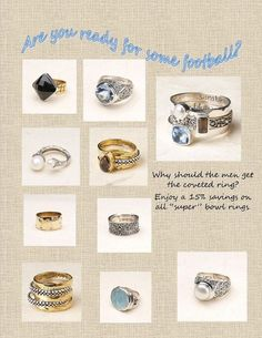 Hey, don't let those big football guys get all the gems! Enjoy a 15% discount from now thru tonight! Contact me to order. homewithmaryb@aol.com or msg me for phone # OR if you want to just order online at http://bit.ly/zoYh4F then I will mail you a 15% rebate on the retail price.