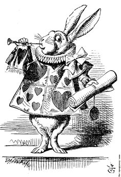 The March Hare in Alice in Wonderland magical because he plays the trumpet and speaks in the Queens Court. He is afraid because he doesn't want to be late for tea but little does he know time is frozen which is odd because his watch is stopped at six.