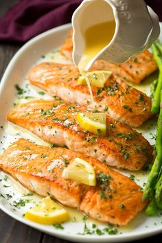 That saying, secrets in the sauce, definitely holds true here! This easy Skillet Seared Salmon with Garlic Lemon Butter Sauce is one of the easiest tastiest dinners you can make! It requires minimal i Skillet Seared Salmon with Garlic Lemon Butter. Salmon Dishes, Fish Dishes, Seafood Dishes, Seafood Recipes, Chicken Recipes, Dinner Recipes, Cooking Recipes, Healthy Recipes, Sauce Recipes