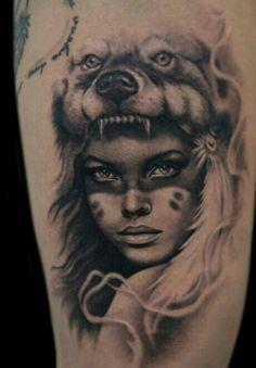 trendy tattoo wolf woman headdress - trendy tattoo wolf woman headdress You are in the right place about trendy tattoo wo - Wolf Tattoos, Head Tattoos, Feather Tattoos, Body Art Tattoos, Sleeve Tattoos, Native Indian Tattoos, Indian Girl Tattoos, Native American Tattoos, Native American Girls
