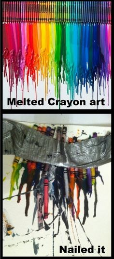 "Funny Post ""Pinterest Gone Wrong: Melted Crayon Art"" Shows what NOT to do when attempting this and how to get best results (hot glue them down and let sit in sun- hair dryer seems to take FOREVER and it splatters everywhere)"