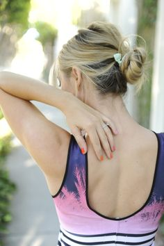 <3 the messy bun and details on the back of the dress!