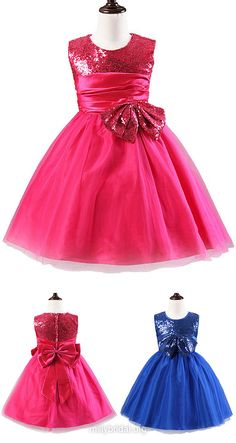 Sparkly Flower Girl Dresses A-line,Pink Flower Girls Dresses Scoop Neck,Blue Flower Girls Dresses Tulle Sequined Tea-length with Bow