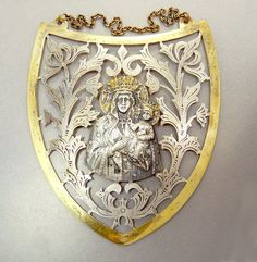 For Mother  Antique Religious Pin Back Badge Ribbon  Mary and Child