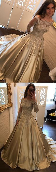elegant off the shoulder prom dresses, unique champagne ball gown prom dresses, fashion evening gowns with sleeves