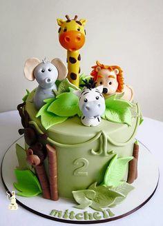 Jungle Birthday Cakes, Jungle Theme Cakes, Fairy Birthday Cake, Safari Cakes, Safari Birthday Party, Safari Theme, Camping Theme Cakes, Fondant, Food Art For Kids