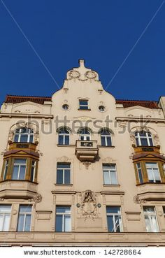 Facade of a palace typical of Prague, Czech Republic - stock photo